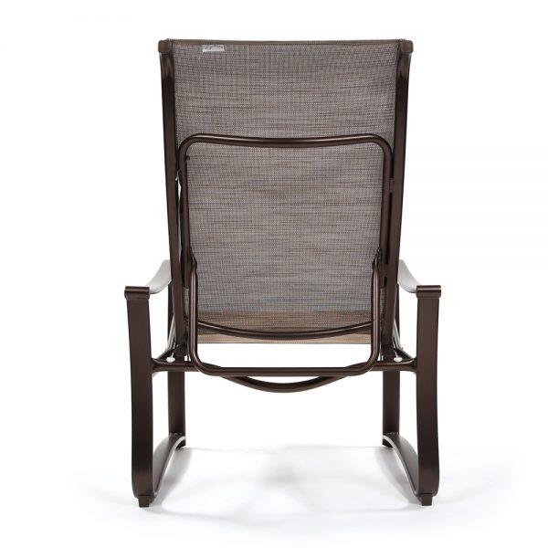 Shoreline sling aluminum patio recliner back view