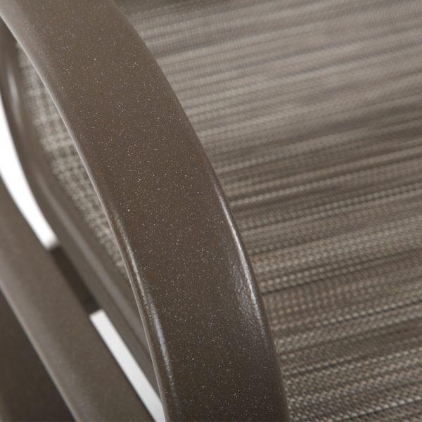 Tropitone aluminum swivel dining chair with a Mocha powder coat finish