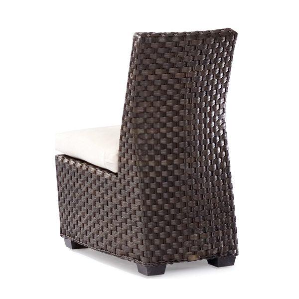 Leeward wicker dining side chair back view