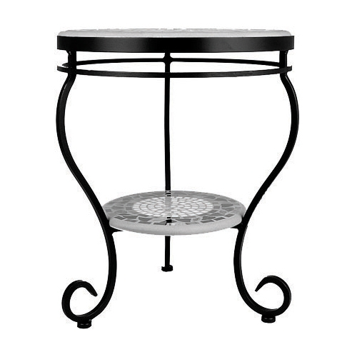 KNF - Neille Olson single or double tier round side table base with curled legs