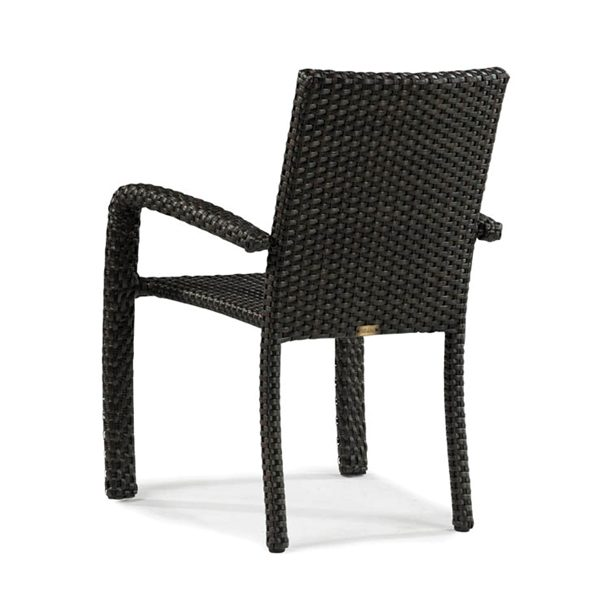 Leeward wicker stacking dining chair back view
