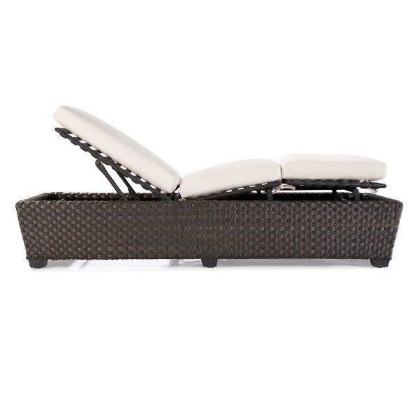 Leeward adjustable sun lounger wicker chaise side view