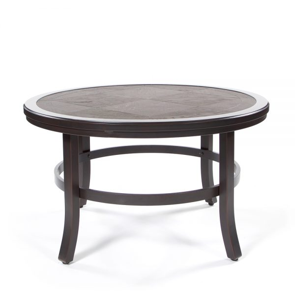 Sunvilla aluminum coffee table with a faux wood top