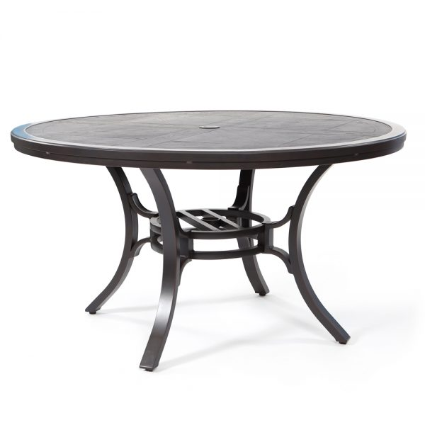 """Sunvilla 54"""" round faux wood aluminum dining table"""