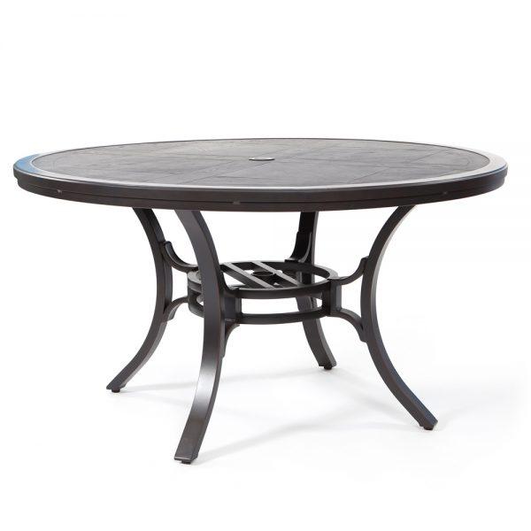 "Sunvilla 54"" round faux wood aluminum dining tableunvilla 54"" round faux wood aluminum dining table"