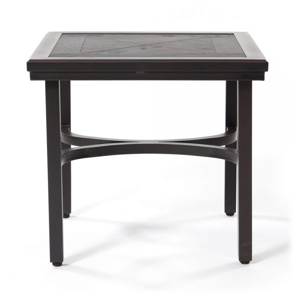 Outdoor end table with a faux wood top side view