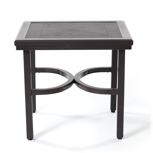 "24"" square aluminum end table with a faux wood top front view"