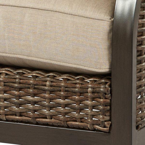 Trenton outdoor aluminum love seat with Sunbrella cushions