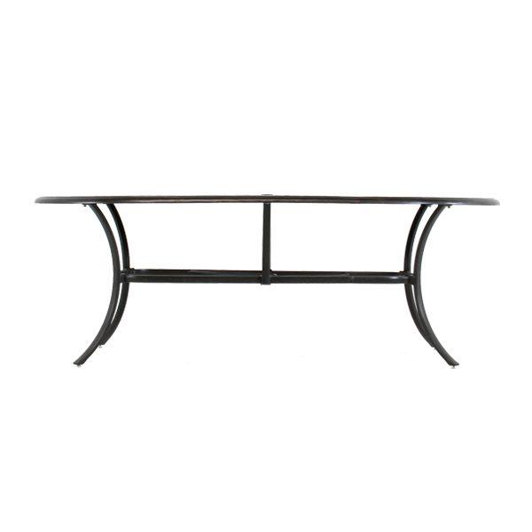 "Hanamint Coronado 42"" x 84"" oval dining table side view"