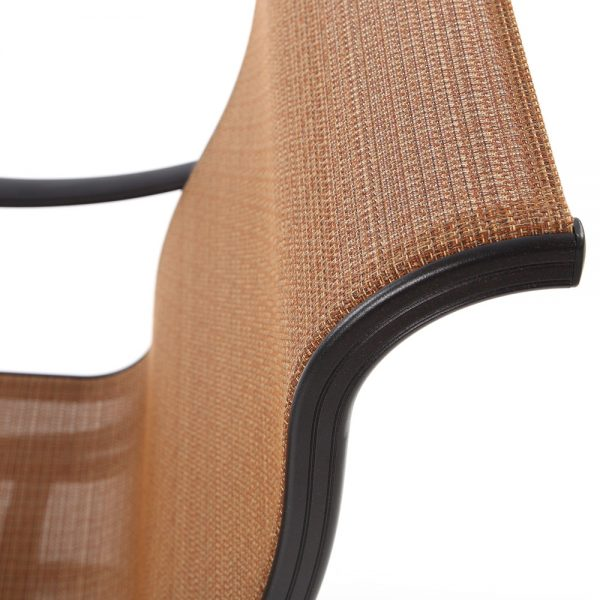 Hanamint Valbonne Sling dining chair with Elevation Oak fabric
