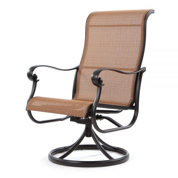 Hanamint Valbonne sling outdoor swivel rocker dining chair