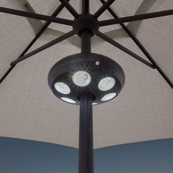 Treasure Garden large black Vega umbrella light on pole