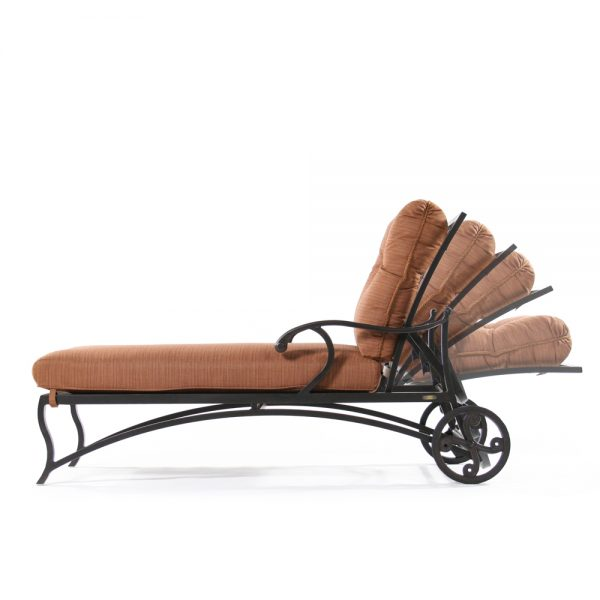 Volare patio chaise lounge side view with reclining positions