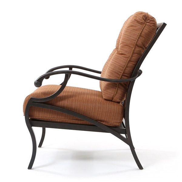 Volare aluminum patio club chair side view