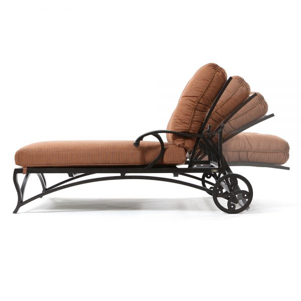 Volare outdoor oversized chaise lounge side view with reclining positions