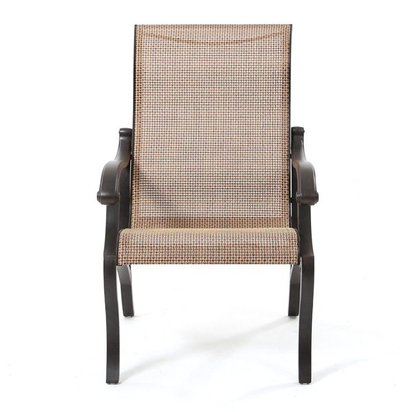 Volare sling aluminum outdoor dining chair front view
