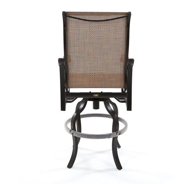 Volare outdoor aluminum sling swivel bar stool back view