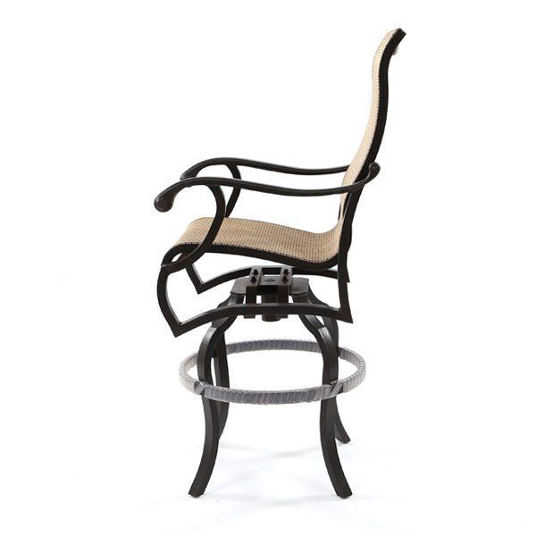 Mallin Volare sling swivel bar stool side view