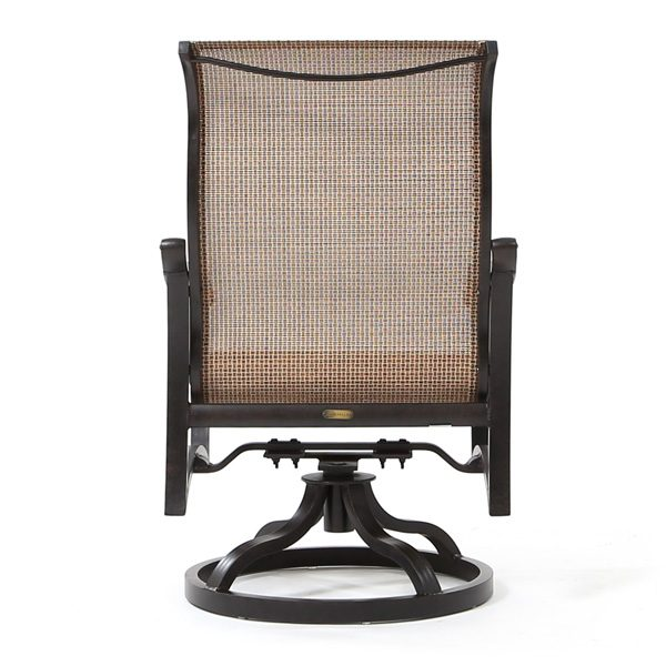 Mallin Volare sling aluminum patio swivel rocker back view