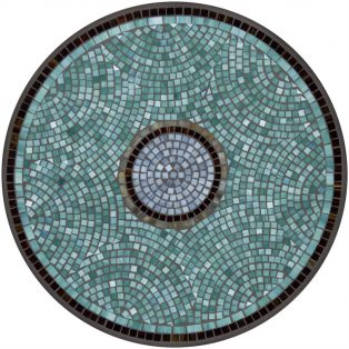 "Elements Jade glass outdoor 42"" round mosaic table top - Available in multiple sizes and shapes"