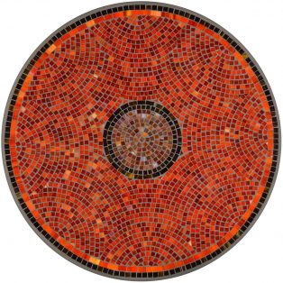"Elements Ruby glass outdoor 42"" round mosaic table top - Available in multiple sizes and shapes"