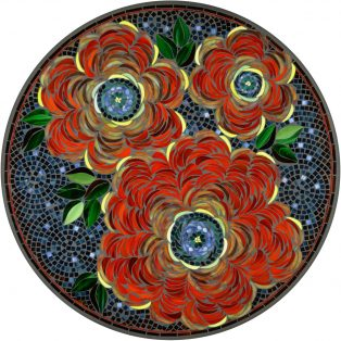 "42"" round Zinnia outdoor mosaic table top - Available in multiple sizes and shapes"