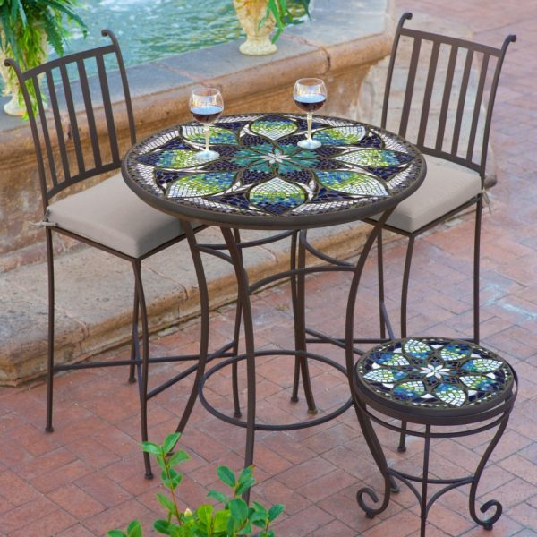 Neille Olson high dining table with a mosaic top