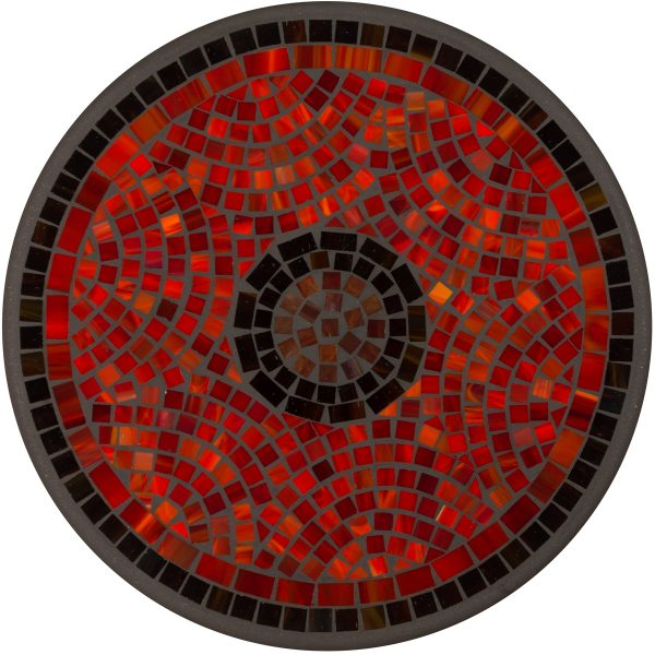 """18"""" round Elements Ruby glass mosaic table top"""