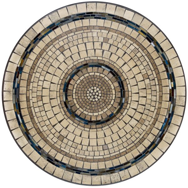 """Elements Slate stone outdoor 42"""" round mosaic table top - Available in multiple sizes and shapes"""