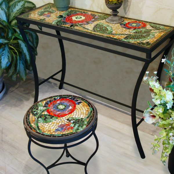 Neille Olson console table with a Mosaic top