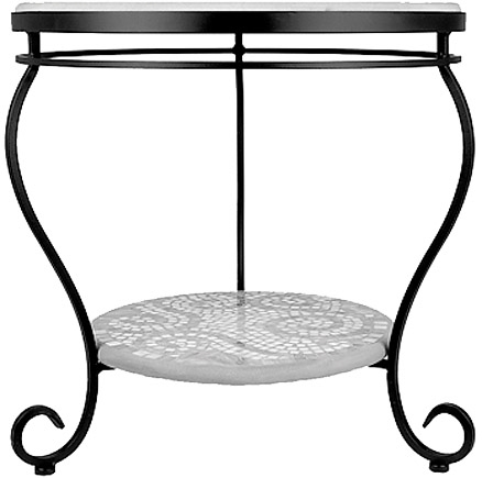 KNF - Neille Olson single or double tier round end table base with curled legs