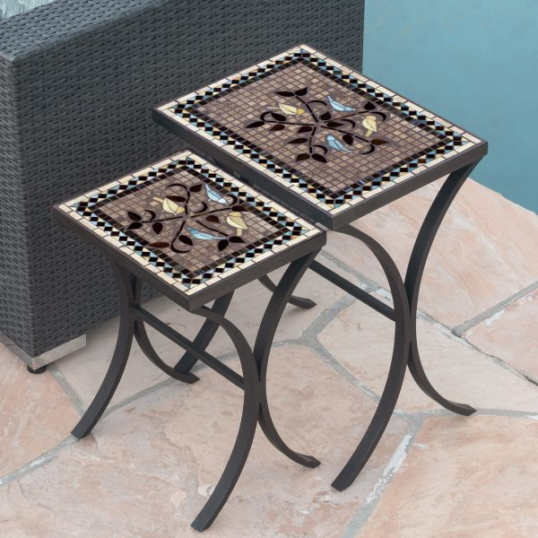 KNF - Neille Olson nesting tables with a Mosaic top