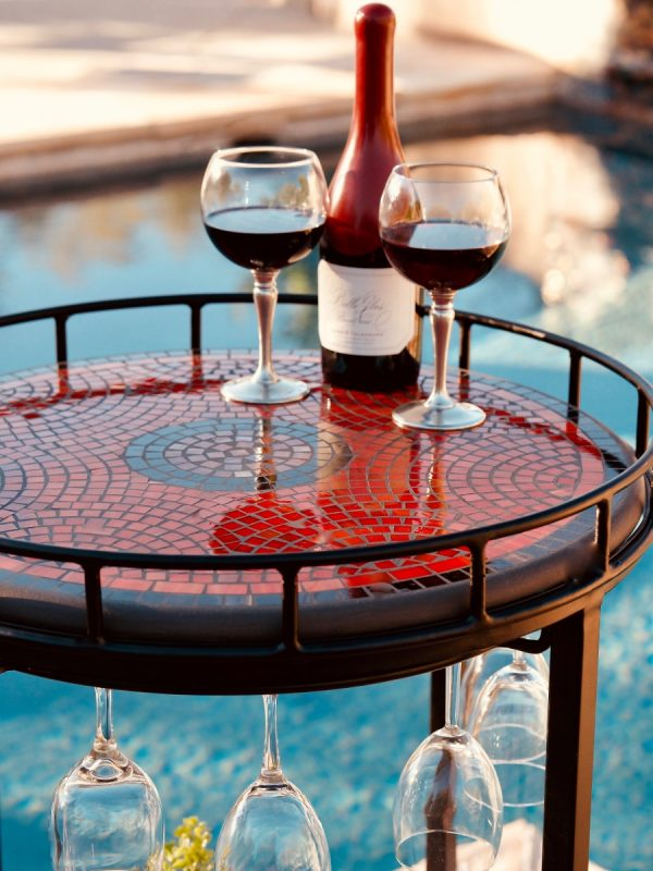 Neille Olson Elements Ruby glass mosaic wine cart