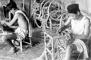 Wicker furniture being weaved using Rattan