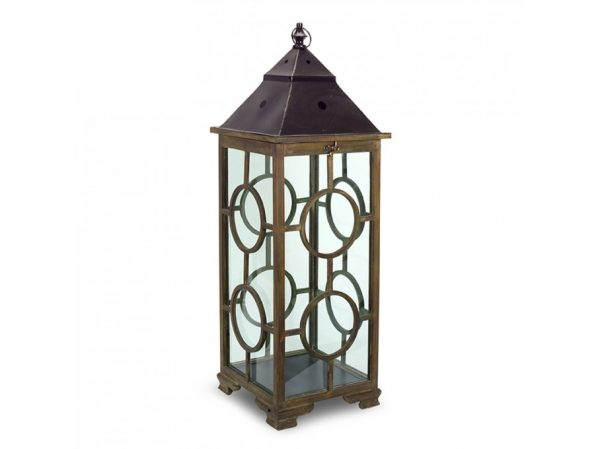 Metal and Wood Lanterns (Set of 2)