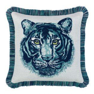 20 Square Designer Throw Pillow Bengal Midnight Fringed