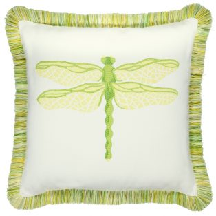 20 Square Designer Throw Pillow Dragonfly Citron