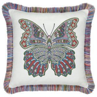 20 Square Designer Throw Pillow Mariposa Fiesta Fringed