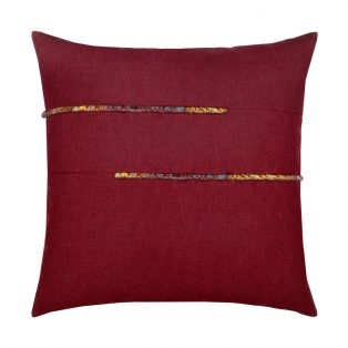 20 Square Designer Throw Pillow Micro Fringe Bordeaux