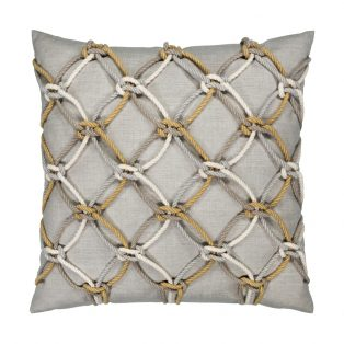 20 Square Designer Throw Pillow Silver Rope