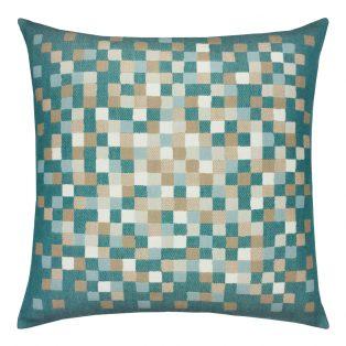 22 Square Designer Throw Pillow Aqua Check