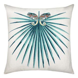 22 Square Designer Throw Pillow Chameleon Deep Sea