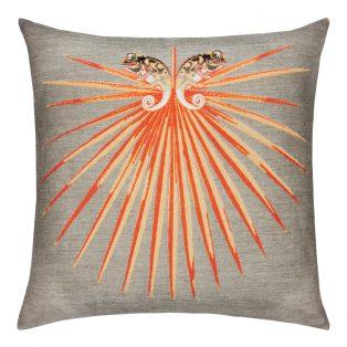22 Square Designer Throw Pillow Chameleon Tangerine