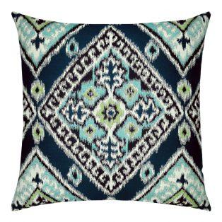 22 Square Designer Throw Pillow Ikat Diamond Peacock