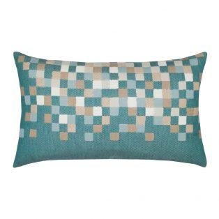 Elaine Smith Designer Lumbar Pillow Aqua Check