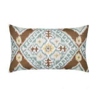 Elaine Smith Designer Lumbar Pillow Ikat Diamond Caramel