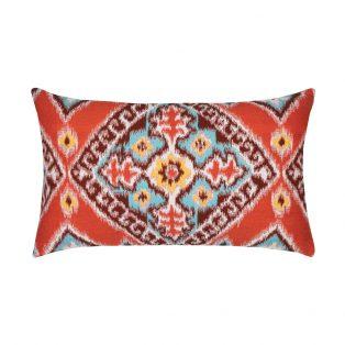 Elaine Smith Designer Lumbar Pillow Ikat Diamond Flame