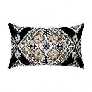 Elaine Smith Designer Lumbar Pillow Ikat Diamond Onyx