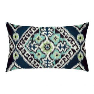 Elaine Smith Designer Lumbar Pillow Ikat Diamond Peacock