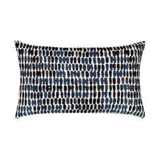 Elaine Smith Designer Lumbar Pillow Thumbprint Indigo